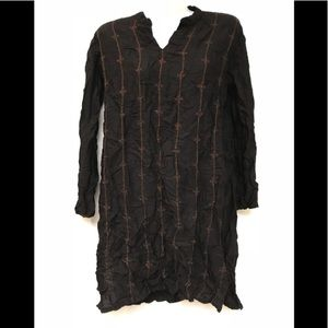 Fabindia black embroidered cotton dress L
